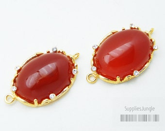 30% SALE// F111-G-RC// Gold plated Framed Red Coral Stone Connector, 1 pc