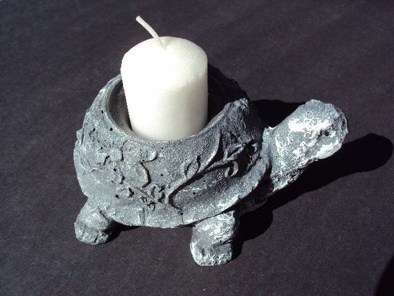 Turtle Candle Holder Cement ooak Save With Coupon