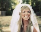 Vintage Veil, Wedding Veil, Bridal Veil, 1960s Veil, Elbow Length Veil, Cream, Ivory, Vintage Wedding