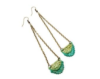 Teal and Olive Ombre Lace Earrings