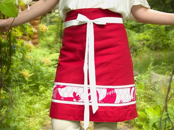 Reversible Red & White Rooster Skirt Apron