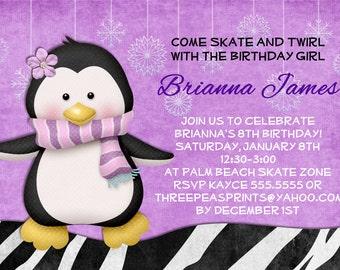 Ice Skating Penguin Birthday Invitation - Zebra Print Invite Printable and Custom
