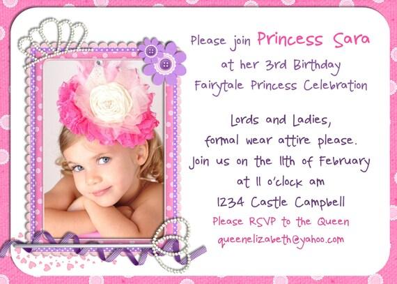 Pink Princess Girl Birthday Invitation