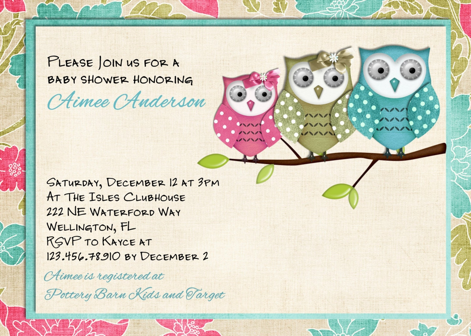 Astounding image for free printable owl baby shower invitations