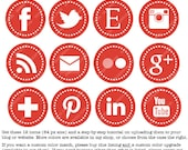 Red Web & Blog Buttons: 12 Social Media Buttons For Your Blog Design