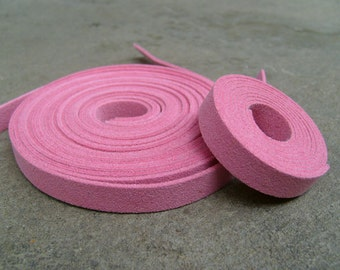 5 Yds(450 cm or 15Ft) Indian Pink- 5 of 900X10mm Faux Suede Lace Straps (FS10-13)