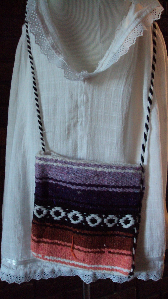 Free Shipping///Vintage Mexican Ethnic Southwestern Boho Hippie Blanket Crossbody Purse/Bag/Pouch