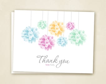 Colorful Pom Thank You Cards  PRINTABLE