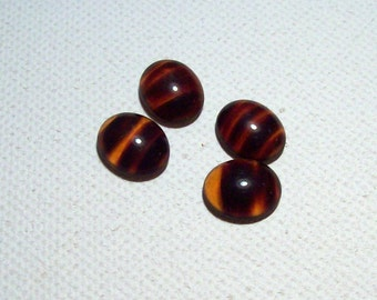 Tortoise Shell Glass Oval Cabachons - 10mm x 12mm - (4)
