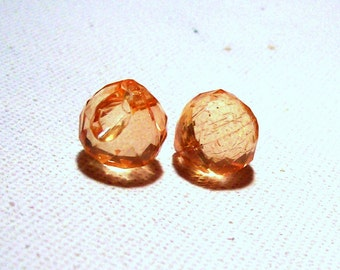 Vintage Lucite Peach Faceted Puffy Onion Briolettes - 15mm - (2)