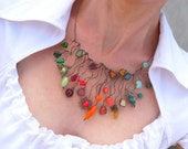 Stained glass necklace beaded colorful jewelry copper wire funky statement Crazy - ArtemisFantasy