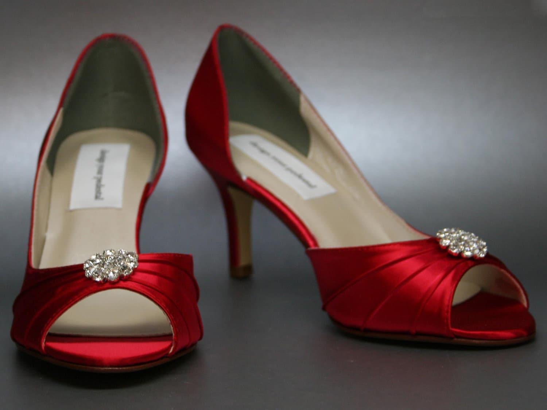 Wedding Kitten Heels: SALE Red Wedding Shoes Bright Red Kitten By DesignYourPedestal