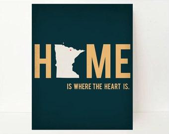 State Art, Home Is Where The Heart Is, Minnesota Art, Minnesota State, Minnesota Map, Home Art, Dorm Wall Decor, Wall Art, Minnesota Decor