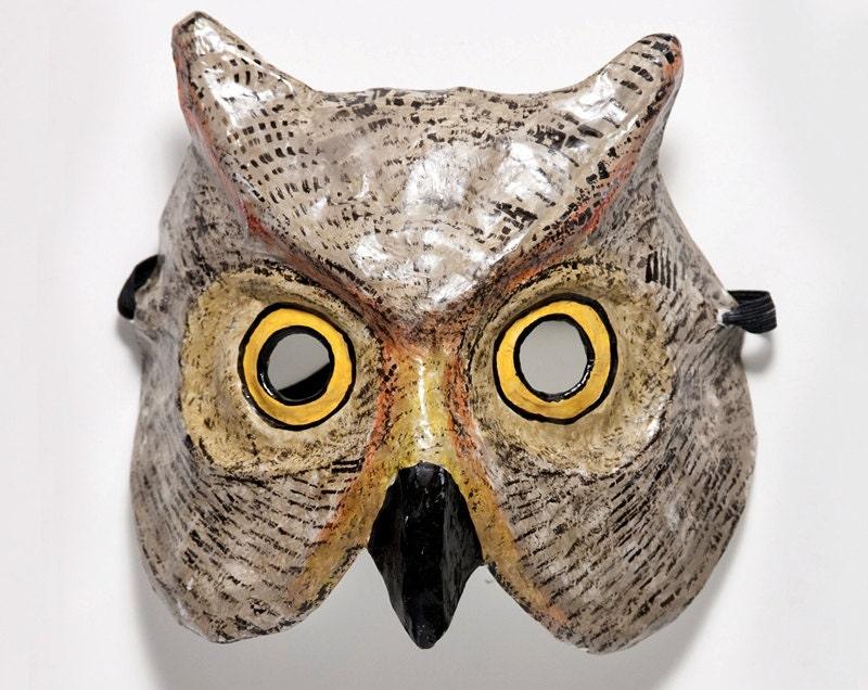 Paper mache owl mask - Masque papier mache ...