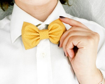 Mustard Bow tie, Honeycomb bow tie Men Bow tie, Hair clip bow, Photographer bow tie, hair clip and  bow tie.  Gifr for him