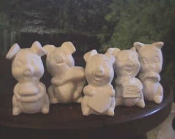 Five Little Pigs, Farm Pigs,Pig Family, Cartoon Pigs, Ceramic u-paint, Five Piglets,u-paint, Ready to paint, Ceramic bisque