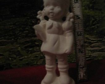 Collectable, Vintage figurine, Amy Figurine, girl figurine , girl with pigtails,Ready to paint, u-paint, ceramic bisque