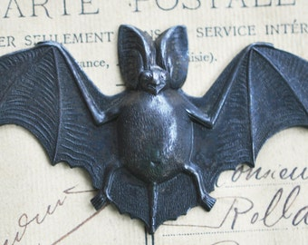 Bat Brass Stamping, Gothic Jewelry, Black Bats, Gothic Bats, Brass Bats, Metal Bats, Black satin Finish