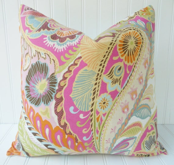 Pink and Teal/Blue Pillow - Floral and Paisley Pillow - 18 x 18 inch Throw Pillow, Accent Pillow