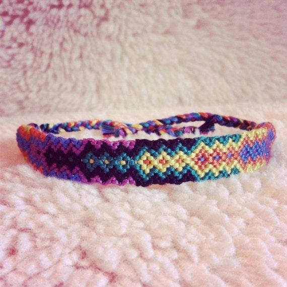 Friendship Bracelet - SALE: Braided Handmade Embroidery Floss Fiber Friendship Bracelet - Graduated Tribal Diamonds