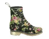 """6 x 5"""" Fashion Illustration Archival Quality Giclee Print - Doc Martens 1460 Victorian Flowers"""