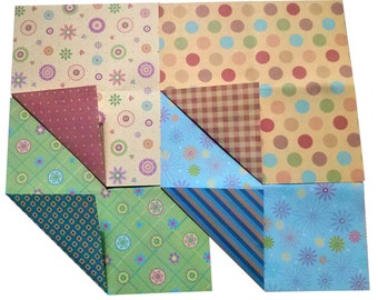 Double Sided Origami Paper I - Circle, Flower, Check, Stripe, Dot Patterns - 20 Sheets