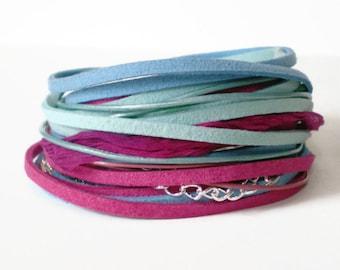 bohemian wrap bracelet, suede ribbon wrap, leather wrap bracelet, pink blue aqua wrap bracelet, boho style cuff, triple wrap, gift for her