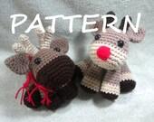 Moose or Reindeer - PDF Crochet Amigurumi Pattern - Amigurumi Animals - Stuffed Moose Pattern - Crochet Reindeer Pattern - Crochet Moose pdf