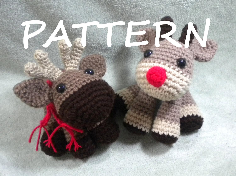 Free Crochet Reindeer Ornament Patterns : Moose or Reindeer PDF Crochet Amigurumi Pattern Amigurumi