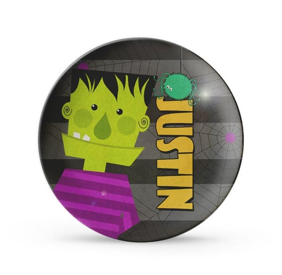 Child's Frankenstein Plate, Personalized Melamine Halloween Party Cake Plate