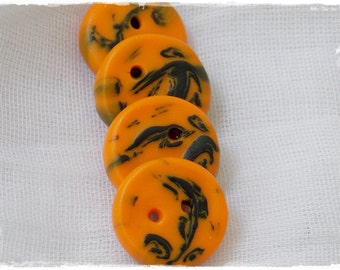 Halloween Buttons, Polymer Clay Buttons, Orange and Black Buttons, Small Round Buttons, Sewing Supplies, Abstract Clay Buttons, Tatoo Button