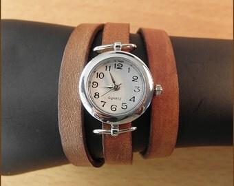 women wrist watch handmade leather bracelet wrap brown