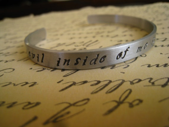 """Dr. Horrible """"Evil Inside Of Me Is On The Rise""""  Bangle, Dr. Horrible's Sing-a-Long Blog Inspired, Hand Stamped Aluminum, FREE SHIPPING"""