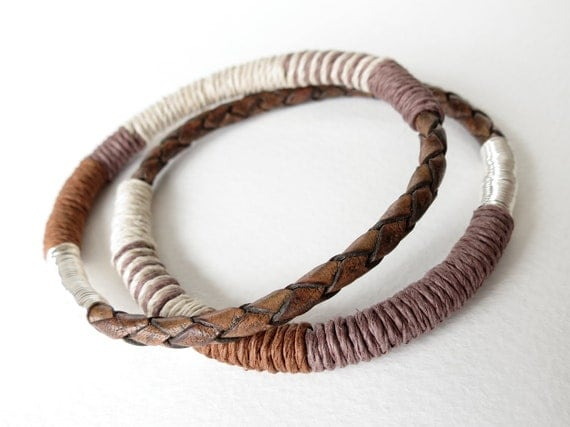 2x braided leather and hemp bangles in tobacco brown and beige with silver, stacking bracelets, bohemian chic,
