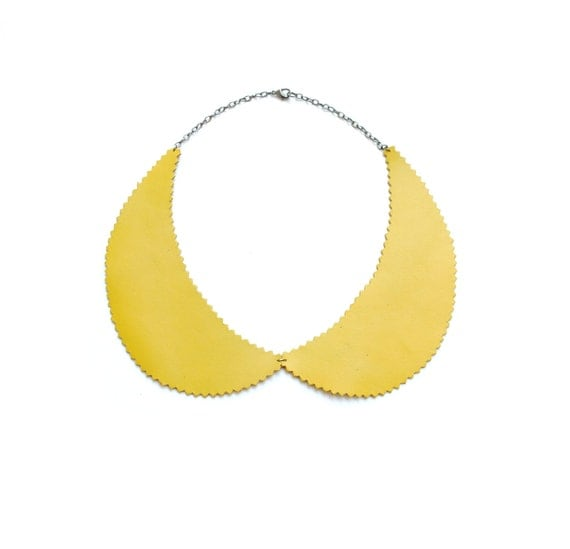 Peter Pan Collar Necklace in Mustard Yellow Leather Zig Zag Cut