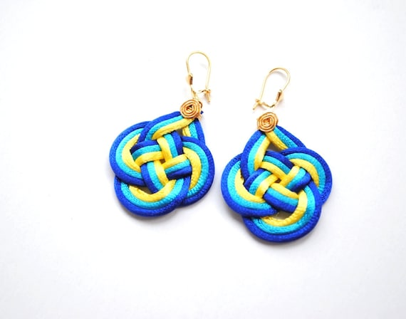 Knotted earrings, blue knot earrings, colorful earrings, blue and yellow earrings, turquoise earrings, nautical earrings, spring trends