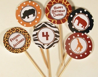 Zoo Party Cupcake Toppers/Party Circles