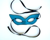 Cat Eye Mask Sexy Adult Halloween Costume Womens Cute Pretty Turquoise and Black Sparkle
