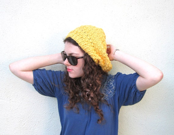 Yellow Sun Hipster Slouchy Crochet Hat Hippy Hippie Snood Rasta Women's Hand Made