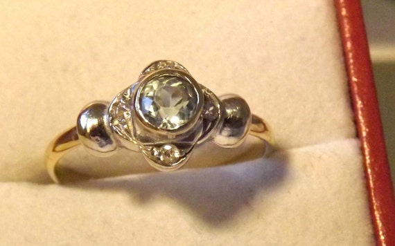 Vintage Topaz Diamond Ring/18K Gold/Gemstone/Right Hand