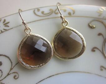 Smoky Brown Earrings Gold Plated Large Pendant - Wedding Earrings - Bridal Earrings - Bridesmaid Earrings
