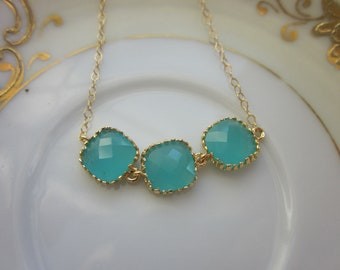 Aqua Blue Mint Necklace Gold Plated - Gold Filled Chain - Wedding Jewelry - Bridesmaid Jewelry - Bridesmaid Necklace - Mint Bridesmaid Gift