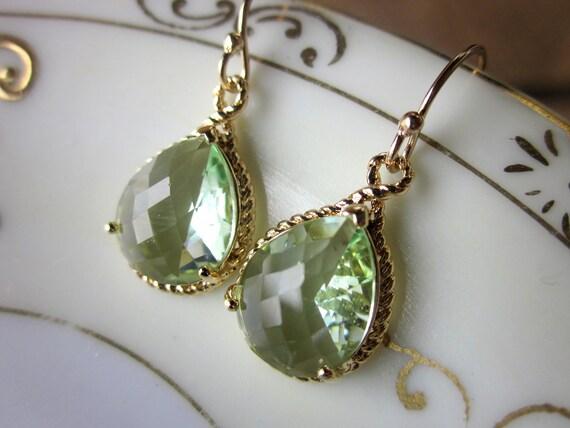 Prasiolite Earrings Green Gold Teardrop Bridesmaid Earrings - Bridal Earrings - Wedding Earrings - Valentines Day Gift
