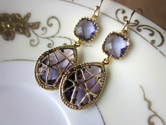 Amethyst Earrings Purple Gold Twisted Design - Bridesmaid Earrings Wedding Earrings Valentines Day Gift