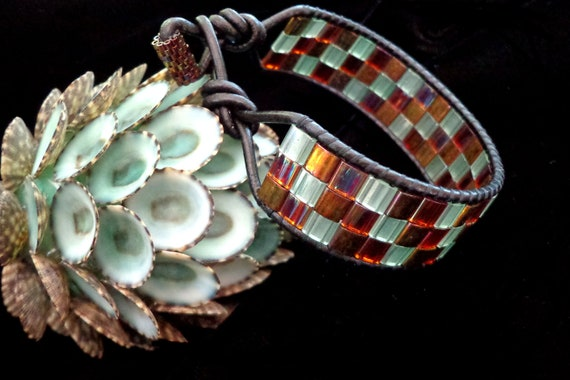 Brown Leather Wrap Bracelet with Rainbow Tila Beads