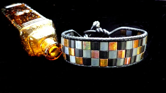 Leather Single Wrap Bracelet with Tila Beads in Black, Silver, and Metallic Bronze