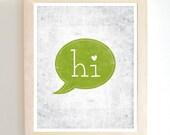 Hi - Art Print - Green - Lime - 8X10 - Modern - Cute Heart - Home Decor - Under 25