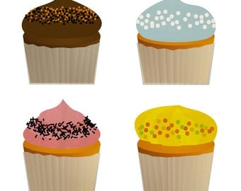 Cupcakes - Digital Image for Download - choose background