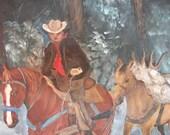 Clearance - Cowboy - Original Painting on Canvas - Cowboy Art - Sale....28.00.....now 10.00
