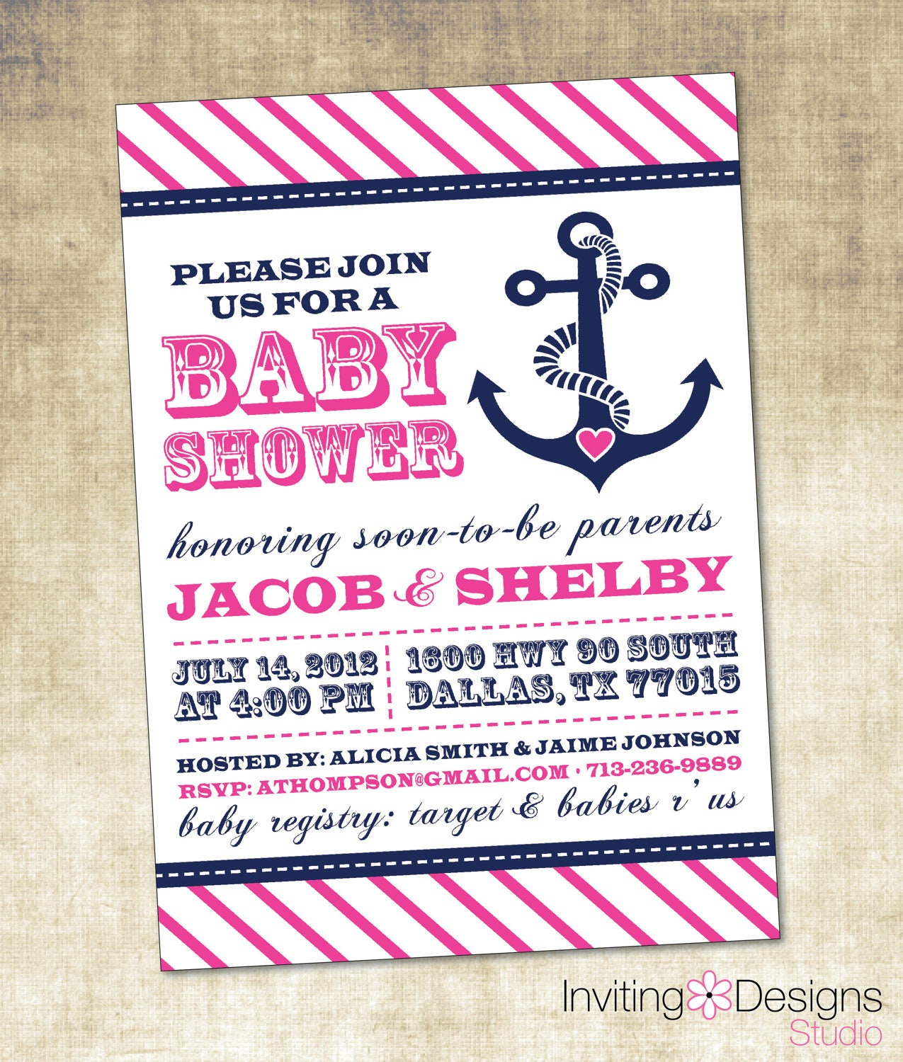 Nautical Baby Shower Invitation Pink Blue Navy Anchor